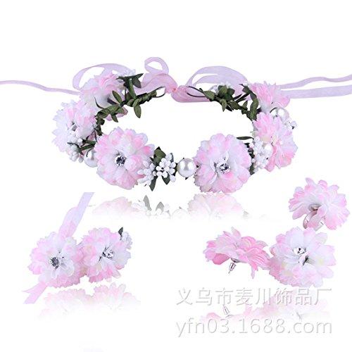 Europa, Mori Mädchen Rohrstock Ribbon Kranz frischer und eleganter Diamant Blumen Braut Hochzeit Blume Haar Zubehör Schmuck Ringe,gradient pink suit