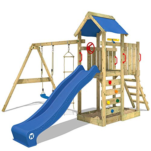 WICKEY Spielturm Klettergerüst MultiFlyer mit Schaukel & blauer Rutsche, Kletterturm mit Sandkasten, Leiter & Spiel-Zubehör