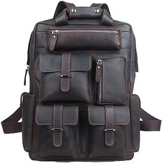 YFYBF Leather para Hombre de la Vendimia Caballo Loco Mochila 15,6 Pulgadas portátil Mochila de múltiples Bolsillos Bolsas de Viaje Oficina de Gran Capacidad de la Universidad Hombro,Dark Brown