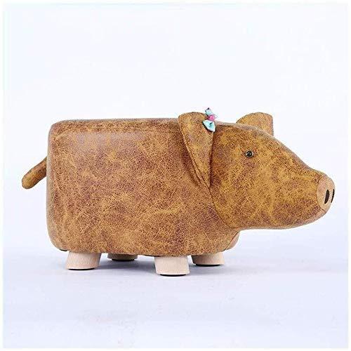 ZFFSC - Taburete de madera maciza, taburete para niños, Amarillo, Pig