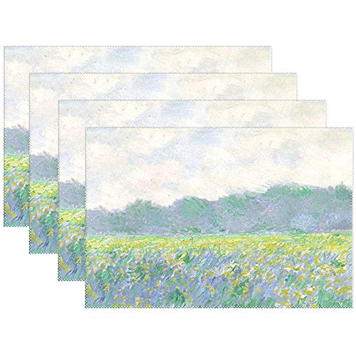 Set de table Set de 6, Monet Art Field of Iris At Giverny - Tapis de table en polyester résistant à la chaleur antidérapant pour table de cuisine, 45X30Cm