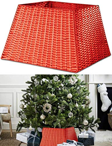 ADEPTNA Premium Christmas Square Faux Rattan Tree Skirt – Folds Flat When Not In Use – Unique Xmas Style Faux Rattan Tree Skirt (RED)