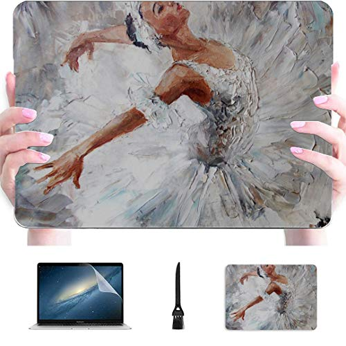 Laptop 13 Inch Case Ballerina Female Oil Painting Art Dance Elegant Dance Plastic Hard Shell Compatible Mac 13 MacBook Air Case Protection Accessories for MacBook with Mouse Pad
