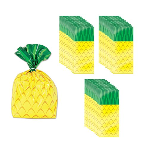 "Beistle 52213 75 Piece Pineapple Cello Bags, 4"" x 9"" x 2"", Yellow/Green"
