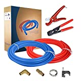 Pexflow PXKT10012 Starter Kit for 1/2-In Pex with Crimper & Cutter Tools - Set includes Brass Elbow & Coupling Fittings, Cinch Clamps, Half Clamps, and 2 Rolls of 1/2-In X 100ft PEX Tubing