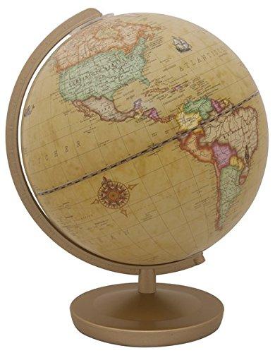 Terra Renaissance Leuchtglobus: 26 cm Durchmesser, Kunststofffuß dunkelbraun, Kunststoffmeridian messingfarben, in 4-farb. Geschenkverpackung: 26 cm ... goldfarben, Kunststoffmeridian goldfarben