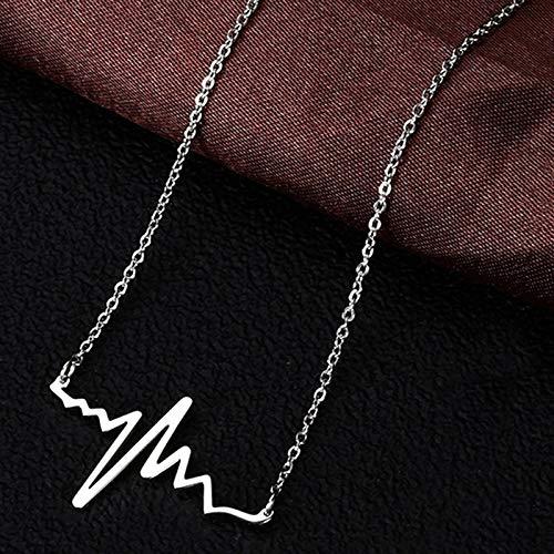 Burenqi Pulsera Collar De Latido del Corazón Pulsera De Acero Inoxidable ECG ECG Bebé Estado De Ánimo Electrocardiograma Collar Médico Enfermera Colgante De Regalo,Silver