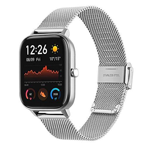 TRUMiRR Compatible con Amazfit GTS Correa de Reloj, Correa de Reloj de Malla de Acero Inoxidable Tejida de liberación rápida para Amazfit GTS/Amazfit Bip/Amazfit Bip Lite