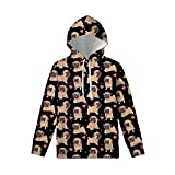 WELLFLYHOM Cute Teen Kids Hoodies for Boys Girls with Strings Age 8-10 Funny Pug Dog Printed Hooded Sweatshirt Drawstring Pullover with Front Pouch T-shirts