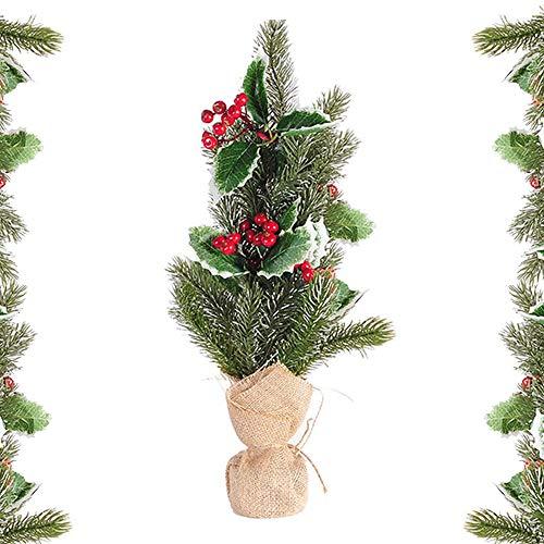 Seully Decoraciones Navideñas-Mini Árbol de Navidad, Decoración de Escritorio Navideña, Árbol de Decoración de Escritorio para el Hogar/Oficina/Hotel/Ventana/Restaurante,Regalos para Niños (32,5 cm)