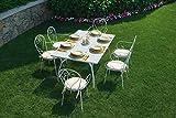 Gruppo Maruccia Set Pranzo per Esterni in Ferro Avorio Shabby Chic 6 posti arredo Esterni Tavolo da Giardino con sedie Set Pranzo per Esterni