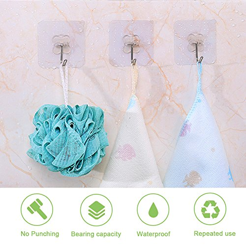 Adhesive Wall Hooks, AUSTOR 16 Pack Nail Free Wall Hooks Heavy Duty Transparent Hooks for Kitchen Bathroom Door Ceiling Hanger 22 Pound/10 KG, 7.2cm x 7.2cm