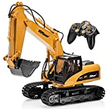 Top Race 15 Channel Full Functional Remote Control Excavator Construction Tractor, Excavator Toy with 2.4Ghz...