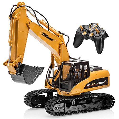 Top Race 15 Channel Full Functional Professional RC Excavator, Battery Powered Remote Control Construction Tractor Metal Shovel, TR-211