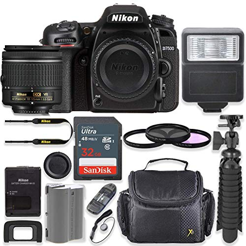 Nikon D7500 20.9MP DSLR Camera with AF-P 18-55mm VR Lens Kit + 32 GB Sandisk Memory Card + Digital Slave Flash + Spider Flexible Tripod + Gadget Bag + Starter Accessory Kit (Renewed)