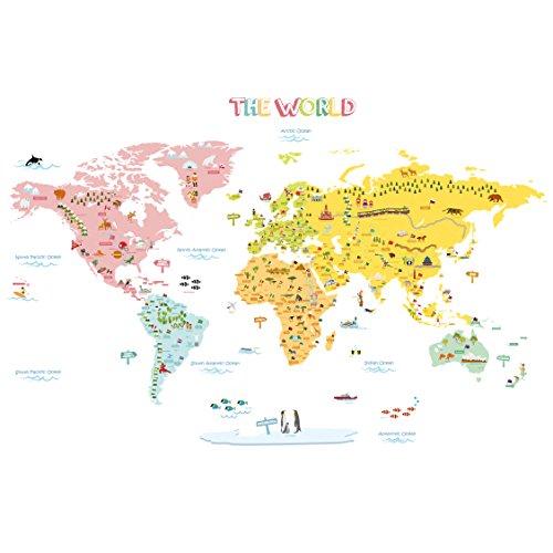 Decowall DLT-1616N Mappa del Mondo Colorato Adesivi da Parete Decorazioni Parete Stickers Murali Soggiorno Asilo Nido Camera da Letto per Bambini (Extra Grande) (Ver. Inglese)