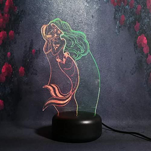 Hermosa sirena linda forma de maquillaje lámpara de noche novia regalo de...