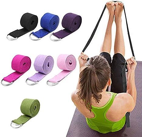 Demarkt Sangle de yoga 100/% coton avec fermeture en m/étal Anneau en D Fermeture Yoga Strap bande de diff/érentes couleurs disponibles Yoga stretch Straps Belt pour Yoga Pilates Fitness Sports