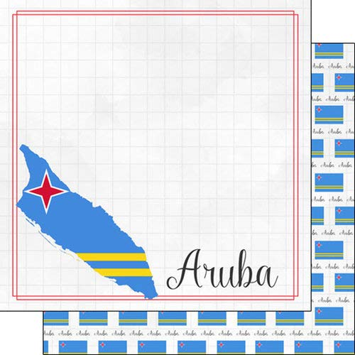 Scrapbook Customs 38940 Aruba Adventure Border 12 Inch x 12 Inch Double-Sided Scrapbook Paper - 1 Sheet
