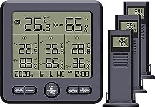 Thermomètres et hygromètres intérieurs et extérieurs Thermomètre Hygromètre Numérique avec 3 Capteurs Extérieurs Températu...