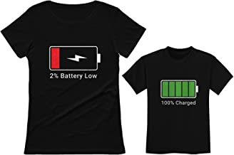 100% Charged & Low Battery Toddler & Women's T-Shirt Funny Mom & Me Matching Set