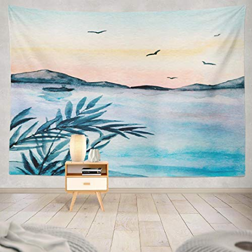 Mountain Tapestry,ONELZ Wall Hanging Tapestry,Tapestry Blue Mountains Sunset Watercolor Birds Blue Boat Lake Master Bedroom Décor Wall Tapestry for Bedroom Living Room 60 L x 80 W,Mountains Sunset