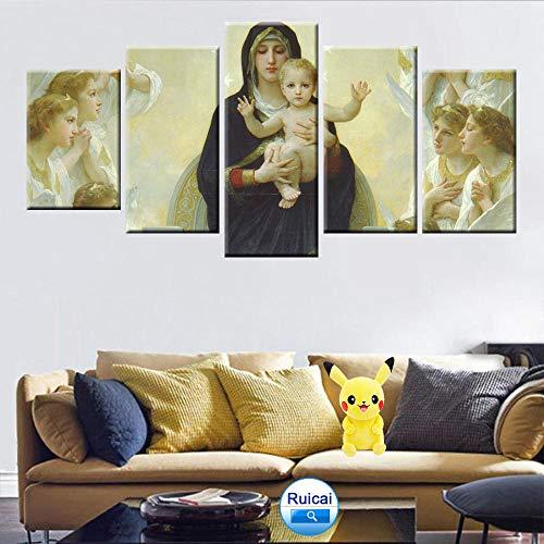 Wodes Virgen María Jesús Arte De La Pared Pintura Religiosa Cartel 5 Panel Hd Impresión Decoración Para El Hogar Mural 30 * 40 * 2 30 * 60 * 2 30 * 80Cm Sin Marco
