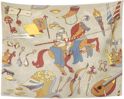 Tapiz Clave Medieval Legendario Caballero acorazado Guerrero a caballo Armas antiguas Pergamino Antiguo colgante de pared para sala de estar boho mandala decoracion pared 150x130cm/59*51inches