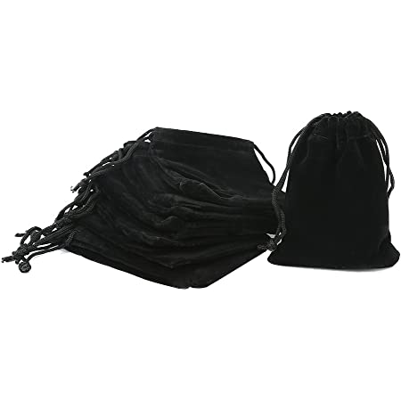Pack of 5 Velvet Gift Bags Drawstring Jewelry Pouches Candy Bags Wedding Favors by Iron Peak 10 X 14 CM, Black
