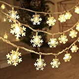 BIMOUR Christmas Lights, Snowflake String Lights 19.6 ft 40 LED Fairy Lights Battery Operated Waterproof for Xmas Garden Patio Bedroom Party Decor Indoor Outdoor Celebration Lighting, Warm White