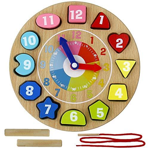 Orologio Giocattolo in Legno, Orologio Numeri in Legno per Bambini Tavole Montessori Giochi Educativi 3 4 5 Anni