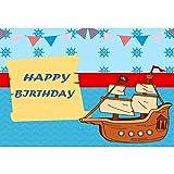 YongFoto 3x2,5m Cumpleaños Vinilo Fondo Feliz cumpleaños Barco Pirata Buntings Cheurón Fotografía Antecedentes para la Fiesta de cumpleaños Decoración Retrato Foto Estudio Accesorios