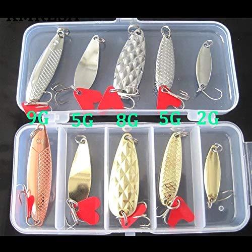 LMY-lure, 10pcs de pesca de metal señuelo de cuchara kit determinado de oro de plata de las lentejuelas Cebos Señuelos del hilandero con la caja de agudos anzuelos de pesca aparejo ( Color : A )