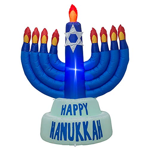 AJY 5.5 Feet Giant Hanukkah Menorah Inflatable Blow Up Indoor Outdoor Yard Lawn Decoration