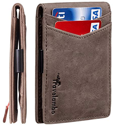 Travelambo Mens RFID Blocking Front Pocket Minimalist Slim Genuine Leather Wallet Pull Tab Money Clip (Gloss Brown)