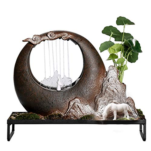 xiaokeai Fuentes Decorativas Humidificador de Fuente de cerámica de Arena púrpura Creativa Sala de Estar Decoración del hogar Suave Cascada Fuente