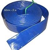 Suinga - MANGUERA PLANA 32mm 5 metros para descarga de agua, Poliester PVC Azul Goma Layflat de Incendios y Piscinas