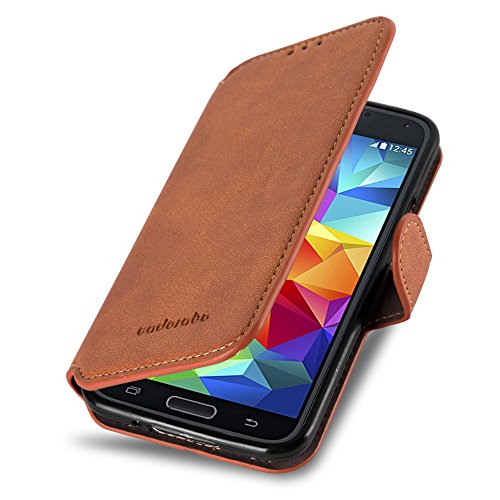 Cadorabo Funda para Samsung Galaxy S5 / S5 Neo Funda de Cuero Sintético Retro en Naranja Apagado – Cubierta Protectora Estilo Libro con Cierre Magnético, Tarjetero y Función de Suporte – Etui Caja
