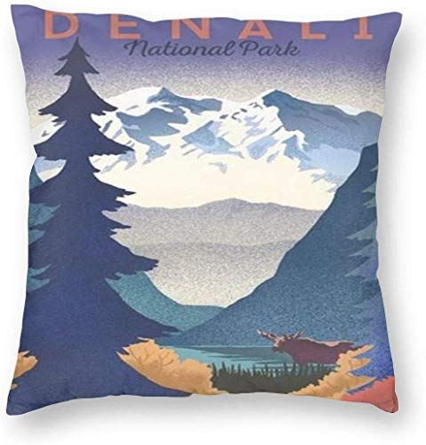 DJNGN Fundas de cojín 18 x 18 Custom Throw Pillow Reversible Pillow Covers Vintage Style Travel Poster Denali National Park Mountain Home Decor Pillow Case Pillowslip Cushion Cases with Zipper Couch