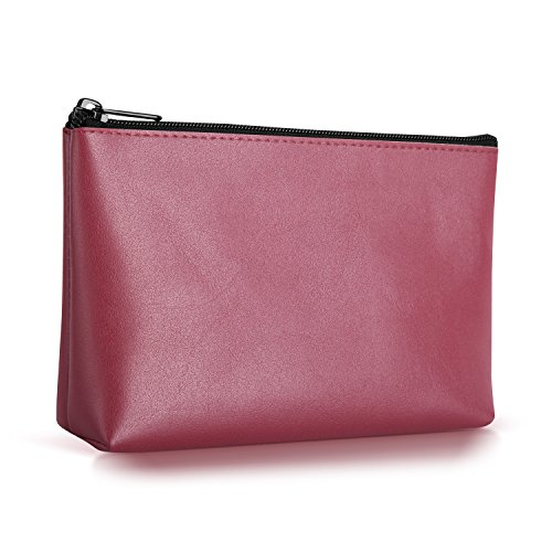 Ayotu PU Leather Lightweight Waterproof Portable Storage Pouch Bag Case Accessories Organizer, Electronics Accessory Travel Organize Case, Cable Management Hard Drive Bag -Dark Red