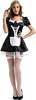 Sexy Lingerie Outfits Frisky French Maid Sexy Costume for Women, Black/White
