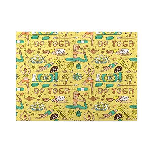 Rompecabezas de 500 piezas,hermosa ilustración de estilo Doodle de yoga dibujada a mano,ilustraciones de juegos de rompecabezas para familias numerosas para adultos y adolescentes