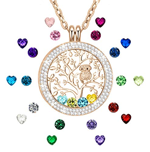 Family Tree of Life Birthstone Necklace for Mother Grandma Gifts for Mom