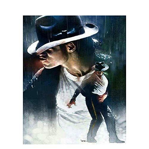 WYTCY Malen Nach Zahlen - Michael Jackson. Leinen Leinwand Ölgemälde, Moderne Kunst Malerei, DIY Malerei Kit, Geeignet Für Erwachsene Und Anfänger40*50CM