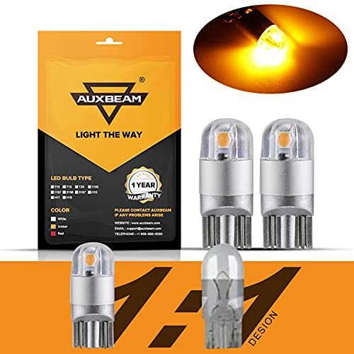Auxbeam 194 LED Bulb Amber Super Bright Non Polarity T10 W5W 168 2825 LED Replacement Bulbs 3030 Chipsets for Front Side Marker Turn Signal Lights Parking Lights Map Door Lights 2 PCS