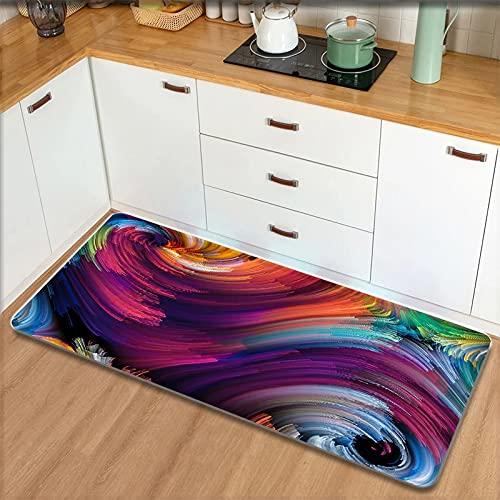 OPLJ Alfombra de la Puerta de Entrada del Dormitorio de la Sala de Estar, Alfombrilla Absorbente de Cocina con Estampado de arcoíris,...