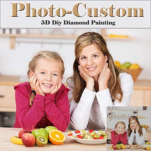 Souljewelry Peinture Murale personnalisée avec Peinture personnalisée 5D DIY Diamond avec Votre Photo, Trousse de Broderie complète Drill Diamond Paint par numéros pour Adultes