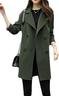 Macondoo Women Casual Wool-Blend Double Breasted Overcoat Pea Coat