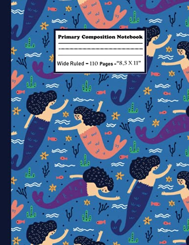 primary composition notebook k-2: kindergarten journal with drawing area  cute Mermaid Seahorse Mermaid Pattern notebook for Back to School  primary composition notebook with picture space