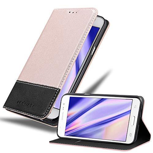 Cadorabo Hülle für Samsung Galaxy J5 2015 in ROSÉ Gold SCHWARZ – Handyhülle mit Magnetverschluss, Standfunktion und Kartenfach – Case Cover Schutzhülle Etui Tasche Book Klapp Style